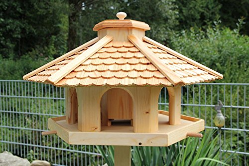 garten-deko-fuchs XXL Premium (V52) Lärchenholz - Vogelhaus Vogelhäuser Vogelfutterhaus Vogelhäuschen-aus Holz- Lärche