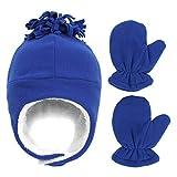 Baby Winter Hat with Mitten Set - Toddler Kids Fleece Sherpa Lined Warm Earflap Cap for Girls Boys(Blue, L)