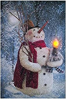 Ohio Wholesale Woodland Snowman Lighted Canvas 16.625