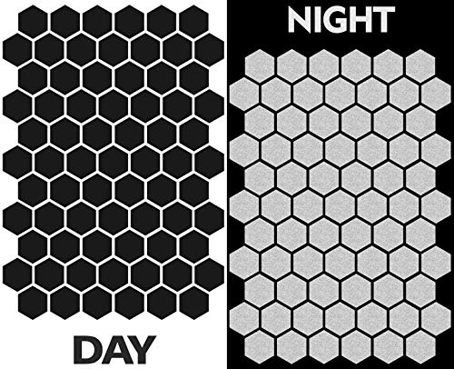 71pcs High Visibility Warning Reflective Stickers Hexagon Honeycomb Kit Decals Black Reflector Highly Night Safety Sign Visibility Universal Self - Adhesive D 52