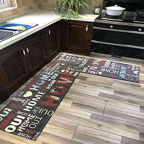 MKMKL Alfombrillas De Cocina Impresas En 3D, Alfombrillas De Entrada para El Hogar A Prueba De Aceite, Elegantes Alfombrillas Antideslizantes De Tira Larga para Cocina,Gris,20x31.5in
