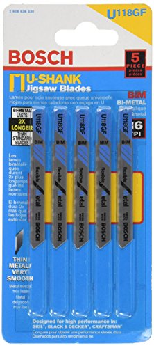 Bosch U118GF 5 piezas 2-3/4 pulgadas 36 TPI flexible para hojas de sierra de calar de metal con mango en U