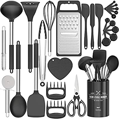 Fungun Kitchen Utensil Set - 27 Pcs Silicone Non-stick Cooking Utensils - Kitchen Utensils with Spatula - Kitchen Gadgets Cookware Set - Best Kitchen Tool Set ?Black Grey by