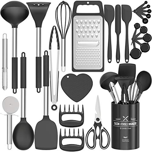 Fungun Kitchen Utensil Set - 27 Pcs Silicone Non-stick Cooking Utensils - Kitchen Utensils with Spatula - Kitchen Gadgets Cookware Set - Best Kitchen Tool Set —Black Grey