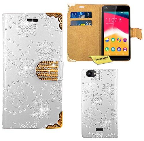 Wiko Rainbow Jam Handy Tasche, FoneExpert® Bling Luxus Diamant Hülle Wallet Hülle Cover Hüllen Etui Ledertasche Premium Lederhülle Schutzhülle für Wiko Rainbow Jam