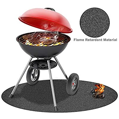 Outdoor Gas Grill and Garage Protective Mat, BBQ Floor Mat, Large 36-inch Diameter, KINGXBAR Absorbant Grill Pad Washable Floor Mat Protection for Decks & Patios