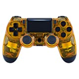 eXtremeRate Transparent Crystal Clear Yellow Front Housing Shell Faceplate Cover for Playstation 4 PS4 Slim PS4 Pro Controller (CUH-ZCT2 JDM-040 JDM-050 JDM-055) - Controller NOT Included