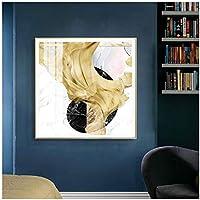 LLXHG抽象的な黄金の絵画シンプルでエレガントなスタイルのポスターとリビングルームの寝室のファッションアートの写真の家の装飾のためのプリント-50X50Cmフレームなし