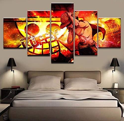 Sakkdaull canvas gedrukt muurkunst schilderij animatie poster 5 panelen One Piece Coole karakters Moderne wooncultuur beelden kunstwerk