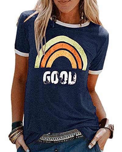 Yuson Girl Damen T-Shirt Regenbogen Shirt Rundhals ärmellos/Kurzarm Oberteile Hemd Tops Bluse Sommer Grafik Drucken Oberteile Tee Tops Cool Rainbow