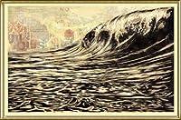 ポスター オベイ Dark Wave/Shepard Fairey 手書きサイン入り 額装品 アルミ製ハイグレードフレーム(ゴールド)