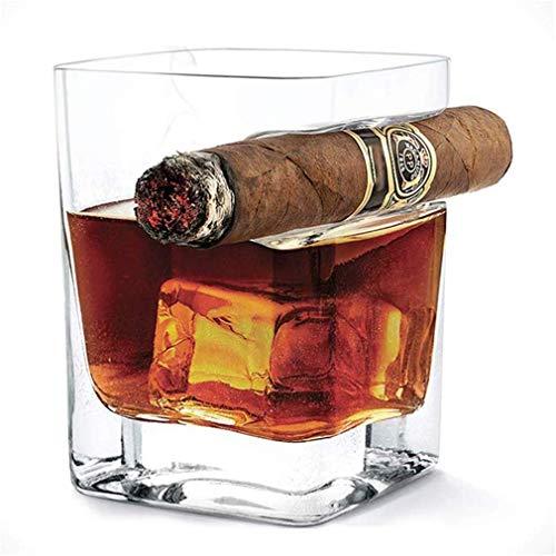SGSG Bicchiere da Whisky per sigari, Bicchiere Vecchio Stile con poggia-sigari rientrato, Fatto a Mano in Cristallo Senza Piombo, Bicchieri...