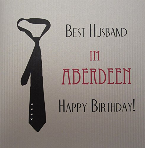 Wit katoen kaart Best Husband In Aberdeen handgemaakt verjaardagskaart met zwarte Tie