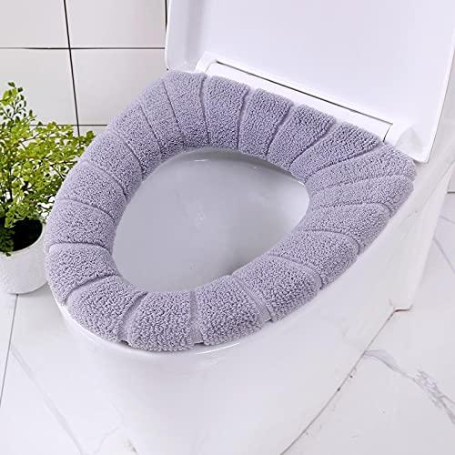 Asiento de baño de baño con asa, lavable suave invierno cojín cojín cojín, inodoro en forma de inodoro cubierta asiento de asiento de asiento 1pc (Color : Gris)