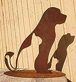 Freunde Hund und Katze sitzend 45x45cm Silhouette Edelrost Rost Metall Gartendekoration + Original Pflegeanleitung von Steinfigurenwelt