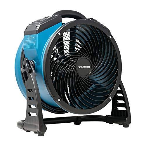 XPOWER FC-250AD Heavy Duty Whole Room Air Circulator Blower Fan with Built-In Power Outlets - Blue