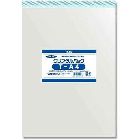 シモジマ ヘイコー 透明 OPP袋 クリスタルパック テープ付 A4 100枚 T-A4 006743200