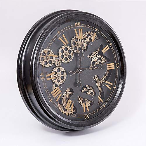 VBARV Große dekorative 3D-Zahnraduhren, Vintage einfache römische Ziffern Silent Wall Clock, Metallrahmen, leicht zu lesen, für Zuhause, Schlafzimmer, Wohnzimmer, Küche