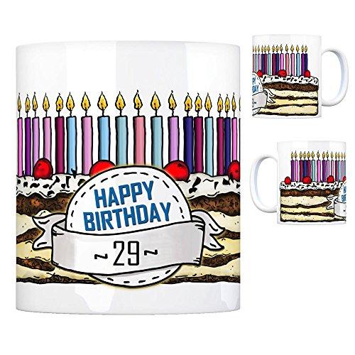 Geburtstagstorte Kaffeebecher zum 29. Geburtstag mit 29 Kerzen Tasse Kaffeetasse Becher Mug Teetasse Büro 29 Jahre Tasse Torte Kuchen 29 Kerzen Geschenkidee Geburtstagstasse Schwarzwälder