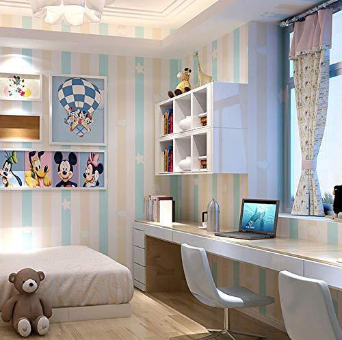 Carta da parati camera dei bambini camera della principessa carta da parati non tessuta blu rosa strisce verticali camera da letto ragazzo ragazza camera fumetto 0 53x10m-azzurro
