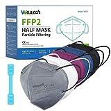 Wawech Mascarillas ffp2 homologadas 20 piezas 5 capas de filtro pasar la certificación CE 2163 y EN 149:2001+A1:2009 (Blanco, Negro, Gris, Rojo, Azul)