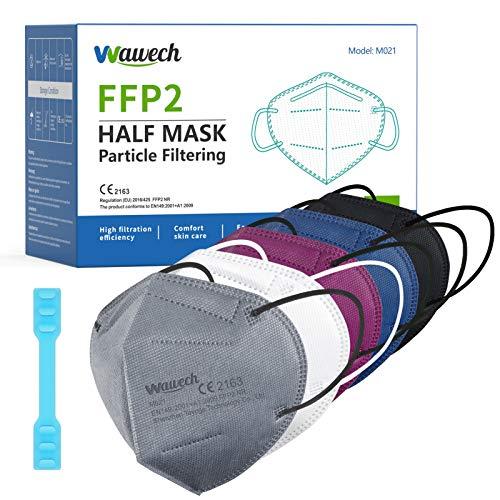 Wawech 20 bunte FFP2 Maske, 5 farbige Mund und Nasenschutz einweg Atemschutzmaske einzelverpackt Mundschutzmaske schwarz weiß blau rot grau