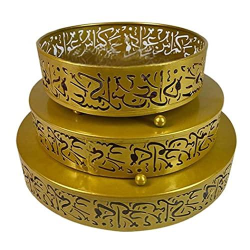 MICHAELA BLAKE Eid Teller-Behältersalver Ramadan Lebensmittel Serviertablett runde Form Platte Serve für Eid Mubarak Dekoration Mithelfer Gartenmöbel-Sets 3PCS