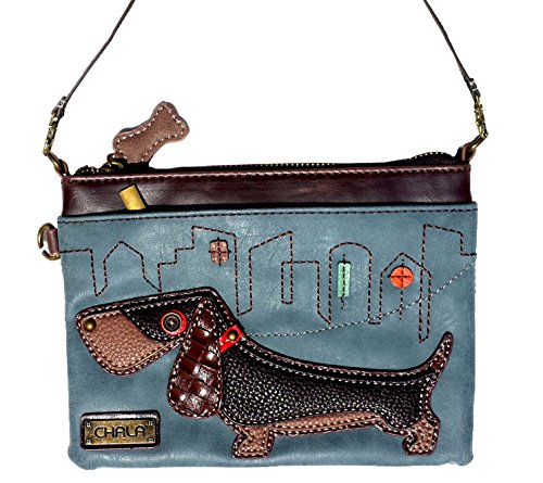 Chala Mini Crossbody Handbag, Pu Leather, Small Shoulder Purse Adjustable Strap (Wiener Dog-Indigo)