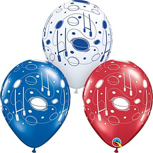 Qualatex Ballons für Nana Party, Latex- und Folienballons: Fußball, Rugby, Golf, Tennisbälle 6 X 11 Rugby Balls & Posts As.