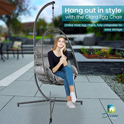 Silla de jardín estilo divino – Silla colgante de ratán y acero con funda impermeable, Gris urbano