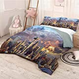 Apartment Decor Collection Extra large quilt cover Seattle Skyline at Sunset WA USA Sun Lights Through Dramatic Clouds Scene Pattern Can be used as a quilt cover-lightweight (King)Grey Blue Ivory
