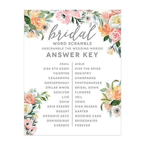 Andaz Press Peach Coral Floral Garden Party Wedding Collection, Wedding Word Scramble Bridal Shower Game Cards, 20-Pack