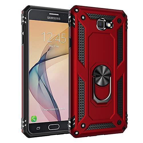 BestST Galaxy J7 Prime /On7 2016 Hülle, für Galaxy J7 Prime /On7 2016 Schutzhülle 360 Grad Drehbar Ringhalter mit Magnetischer Handyhalter Auto Handy hülle + Panzerglas Bildschirmschutz - Rot