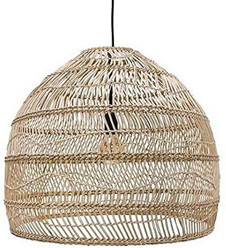 Waqihreu Linternas de bambú Tejidas a Mano Creativas de Estilo Chino Retro Dormitorio Industrial Iluminación de cabecera Lámpara Colgante Luces Colgantes de Cocina (Color:Natural)
