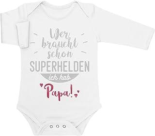 Shirtgeil Wer braucht Schon Superhelden ich hab Papa Baby Langarm Body