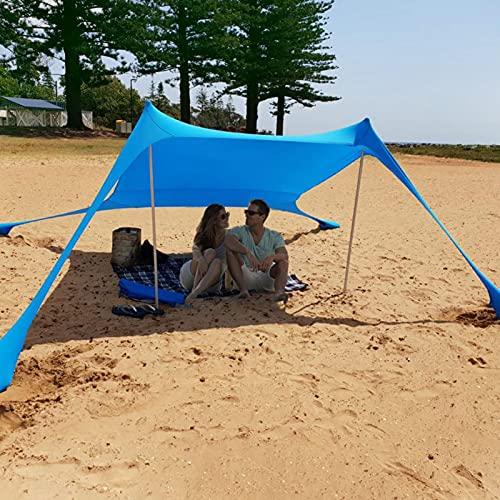 Strand Schatten Zelt 210x210x160cm Sonnenschirm Zelt Familie Zelt Shelter Baldachin Markise mit Sandsack Anker,4 Pegs,UV-Schutz UPF 50+ Sun Shade Shelter,Tragbare Sonnensegel Camping Plane für Strand