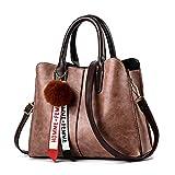 Bolso retro para mujer, bolso de hombro, PU impermeable marrón, ropa de compras, bolso de compras, moda casual, gran capacidad