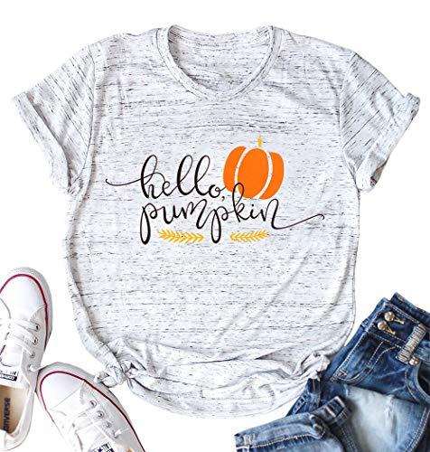 Halloween Pumpkin Costume Fun Tees Women's Letters Print Short Sleeve T-Shirt Tops Size M (Light Grey)