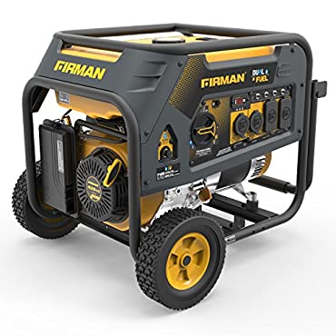 Firman H05752 7125/5700 Watt 120/240V Recoil Start Gas or Propane Dual Fuel Portable Generator