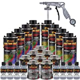 Custom Coat Federal Standard Color # 36300 Aircraft Gray T92 Urethane Spray-On Truck Bed Liner, 2 Gallon Kit with Spray Gun and Regulator - Durable Textured Protective Coating - Easy Mix Car Auto