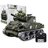 deguojilvxingshe 1:16 American M4A3 Sherman Simulated Tank 2.4G RC Model Military Tank with Sound Smoke Effect...