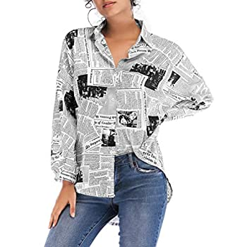 KESYOO Newspaper Print Blouse Loose Lapel Neck Shirt for Women Girls Long Sleeve Button Down Top Black