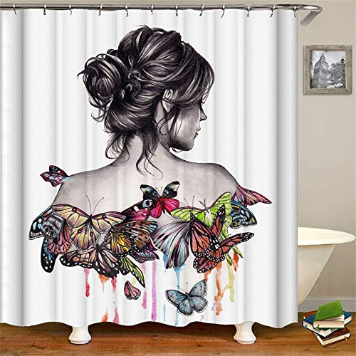 Butterfly Shower Curtain Set with Hooks Lady Pathetic Women Ballet Buns Colorful Butterflies Multicolor Watercolor Grace Back Girly Bathroom Decor Waterproof Polyester Fabric Accessories Bath 72x72in