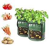 2 Pack of 7 Gallon Sweet Potato Planting Bags, Garden Tub with Flap for Tomato, Garden Containers for Vegetables