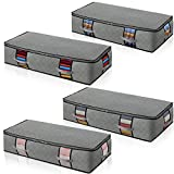Under Bed Storage Containers 4-pack Large Capacity Clothes Organizers Under The Bed Storage Bags for Bedding,Clothes,Blankets shoes Clear Window Grey