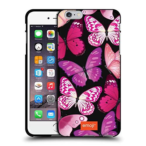 Head Case Designs Oficial Emoji Rosa y Morado Mariposas Funda de Gel Negro Compatible con Apple iPhone 6 Plus/iPhone 6s Plus