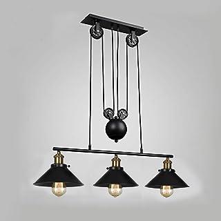 Lámpara de techo de tres luces, isla de cocina, regulable, industrial, rústica, firme, vintage, para cocina, comedor, hogar