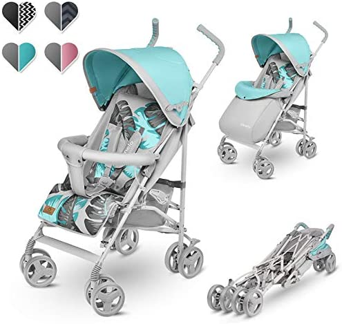 Lionelo Elia Buggy Small Folding Pushchair Tropical Turquoise from 6 Months to 15 kg Load Capacity