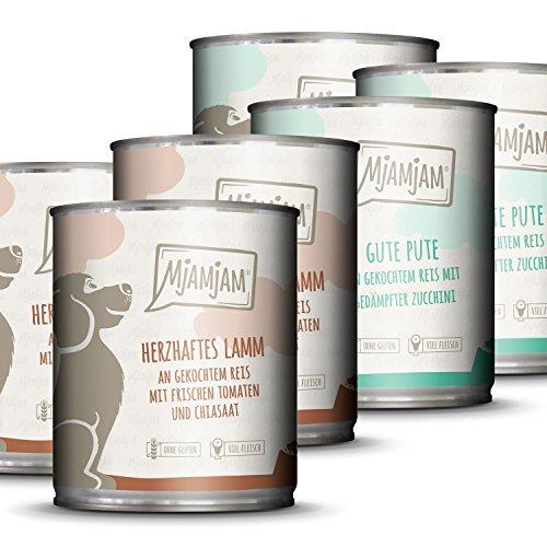 MjAMjAM - Premium Nassfutter für Hunde - Monopaket 1 - mit Lamm und Pute, 6er Pack (6 x 800 g), naturbelassen mit extra viel Fleisch