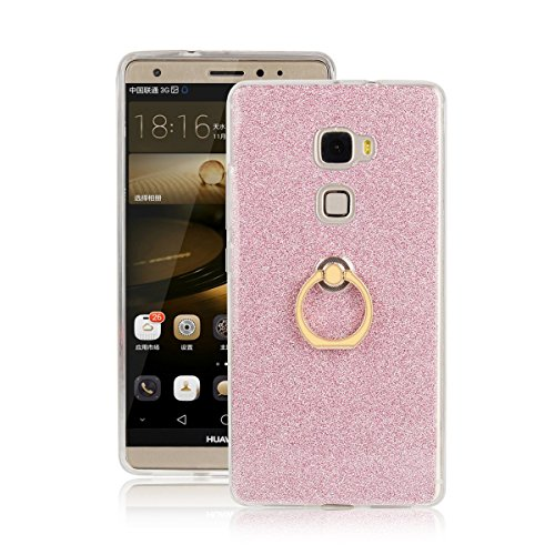 pinlu Funda Para Huawei Mate S (5.5pulgada) Anti-Arañazos Función Flash Brillante Suave TPU Silicona Case Ultra Delgada Hebilla del Anillo Soporte Diseño Rosa
